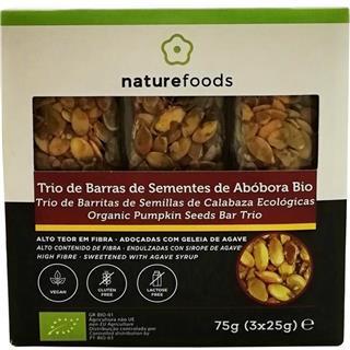 Trio de barras de sementes de abóbora bio sem glút
